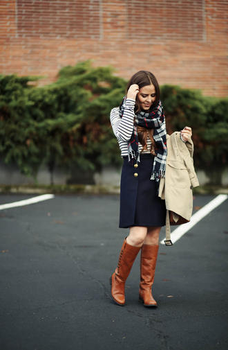dress corilynn blogger skirt shirt jacket shoes scarf bag jewels knee high boots trench coat striped top blue skirt