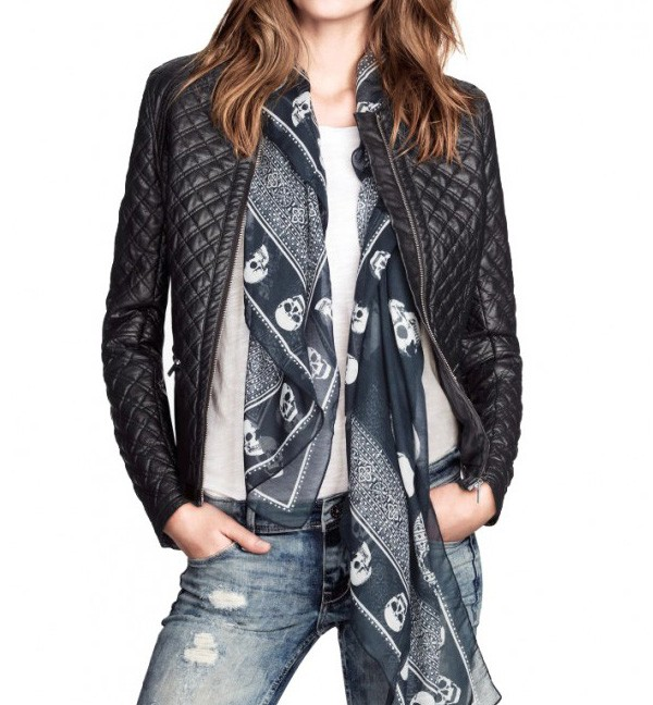 Mixed Quilted Leather Look Collarless Bomber Jacket