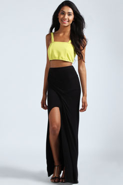 Tamsin Split Front Wrap Jersey Maxi Skirt at boohoo.com