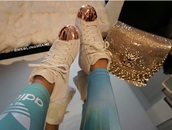 shoes,adidas shoes,gold,white,adidas,cream,nude