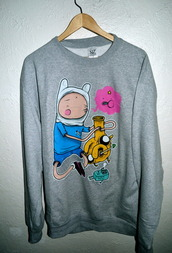 shirt,adventure time,dope,long sleeves,cool,grey,pipe,smoking,cute,finn the human,jake the dog,lsp,bmo