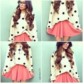 sweater,polka dots,polka dot sweater,skirt,pokadot,b&w,blouse,hipster,oversized sweater,pink skirt,pink skater skirt