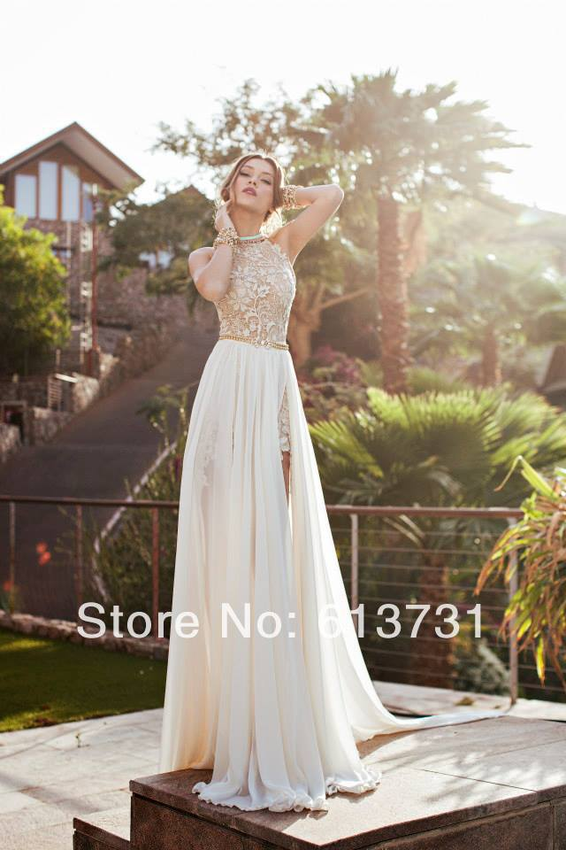 Aliexpress.com : buy 2014 new arrival sexy white chiffon beaded appliques lace prom dresses long halter side slit spring evening party gown bo5557 from reliable dress up modern princess suppliers on suzhou babyonline dress store