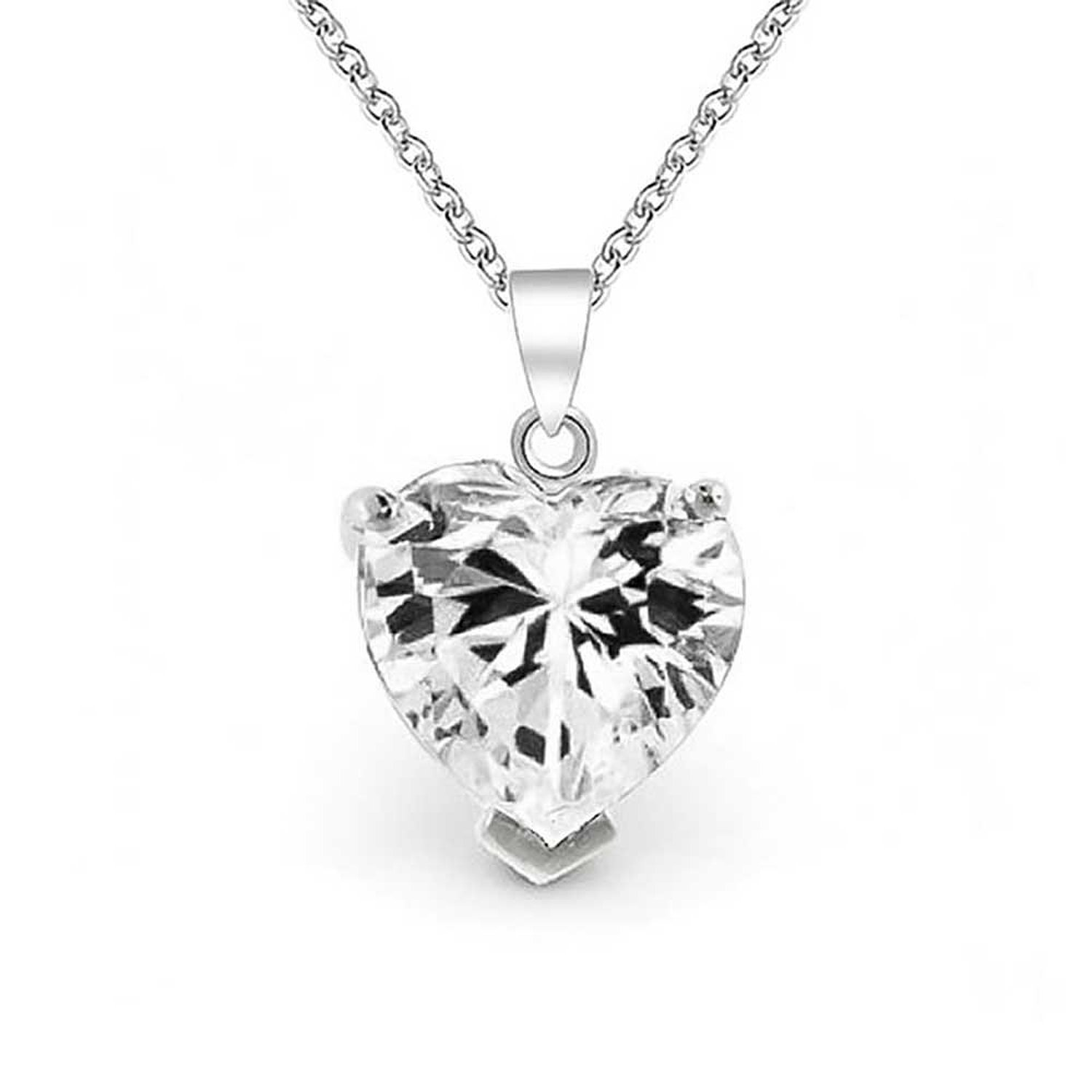 Amazon bling jewelry 4 ct sterling silver cubic zirconia amazon bling jewelry 4 ct sterling silver cubic zirconia solitaire heart necklace 16in pendant necklaces jewelry mozeypictures Gallery