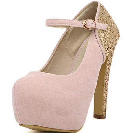 Laconic light pink match gold suede platform mary jane pumps : thatspoint.com