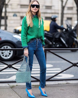 shoes blue shoes sweater green sweater knit sunglasses bag knitted sweater denim jeans blue jeans skinny jeans streetstyle