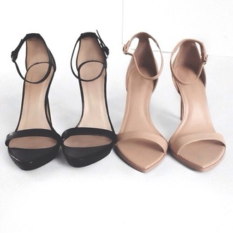 shoes heels black nude straps