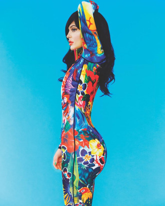 jumpsuit colorful editorial kylie jenner kardashians floral leggings top