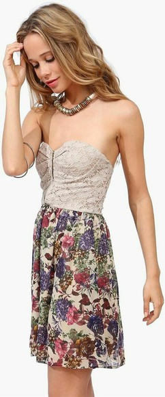 dress strapless dress white garden chic floral