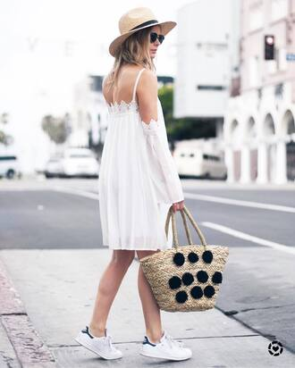 dress hat tumblr midi dress white dress sneakers white sneakers low top sneakers bag sunglasses woven bag pom poms shoes