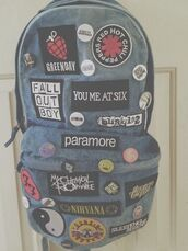 bag,patch,blouse,band,grunge,backpack,sac,green day tank,green day,rock,paramore,denim backpack