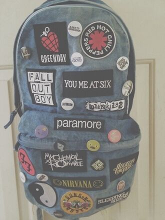 bag patch blouse band grunge backpack acid wash rock nirvana hipster music backpack green day green day backpack. music musical pale acid blue