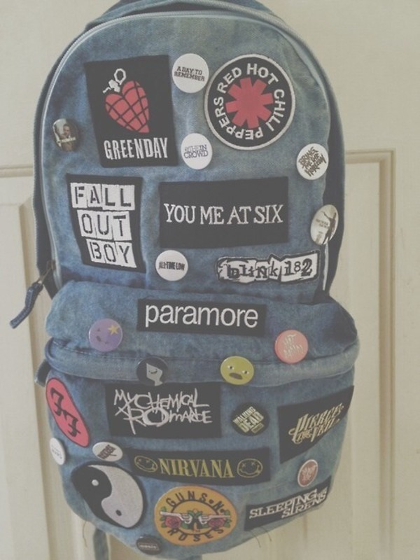 bag patch blouse band grunge backpack acid wash rock nirvana paramore blink 182 sleeping with sirens fall out boy denim backpack red hot chili peppers vans warped tour hipster music backpack green day green day backpack. music musical pale acid blue sac green day tank patch