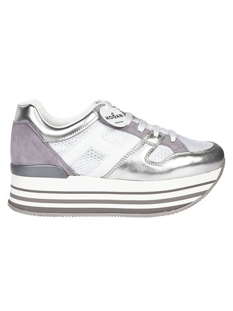 sneakers platform sneakers lace metal silver white shoes