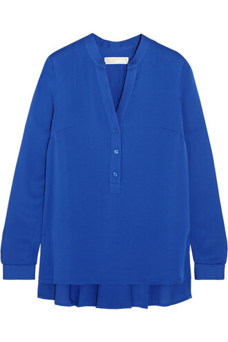 blouse pleated blue silk top