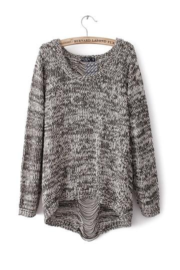 Fashion Back Hole Knit Sweater [FKBJ10189] - PersunMall.com