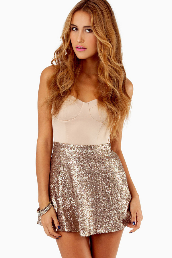 Sequin Skater Skirt - TOBI