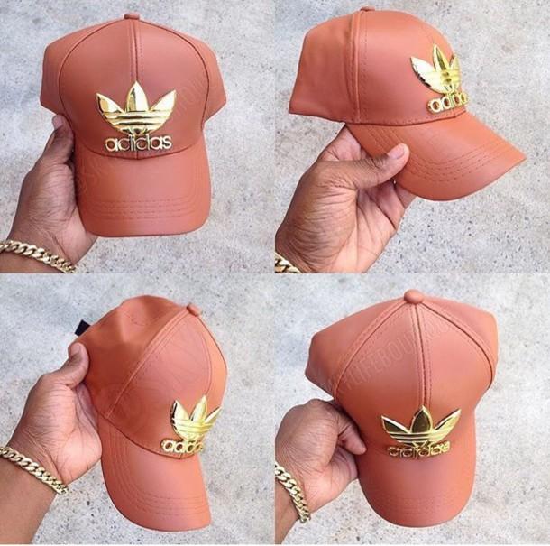 b4da60830b4 hat adidas faux leather hat pink gold adidas hat adidas cap