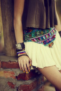 skirt indie hippie aztec hipster blue skirt creme clothes