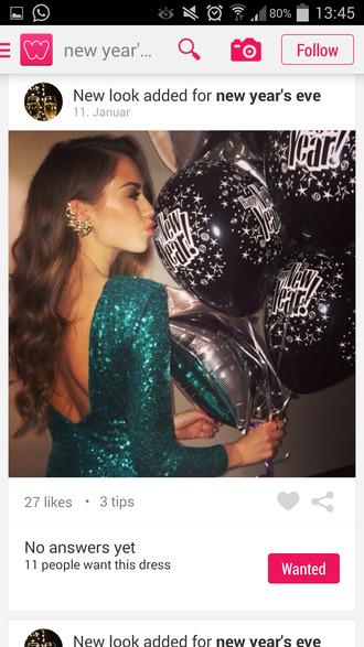 new year's eve sexy dress green dress jewels