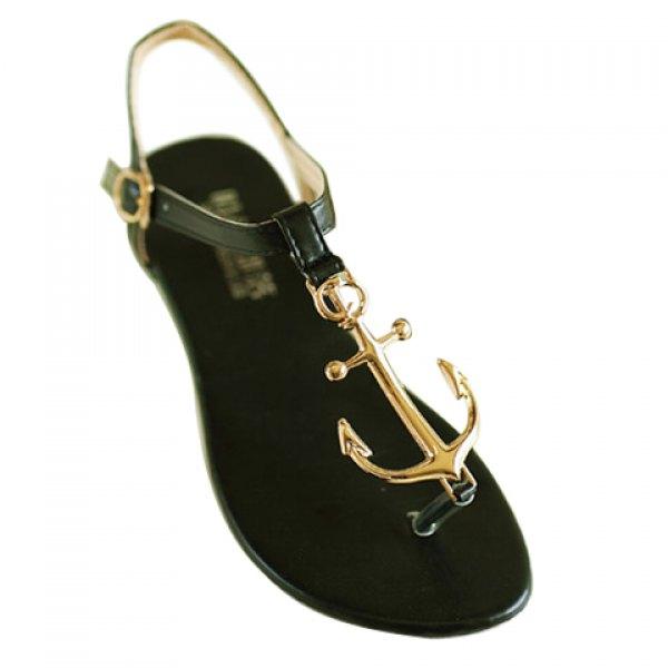 Wholesale Stylish Women's Sandals With Flip-Flop and Metal Design (BLACK,38), Sandals - Rosewholesale.com
