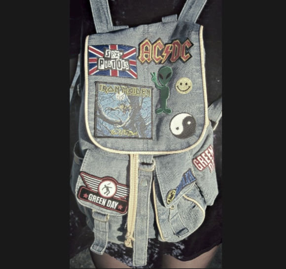 rock bag denimbackpack school bag grungebackpack denim grunge backpack patches
