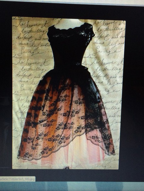 dress pink and black lacy vintage tumblr
