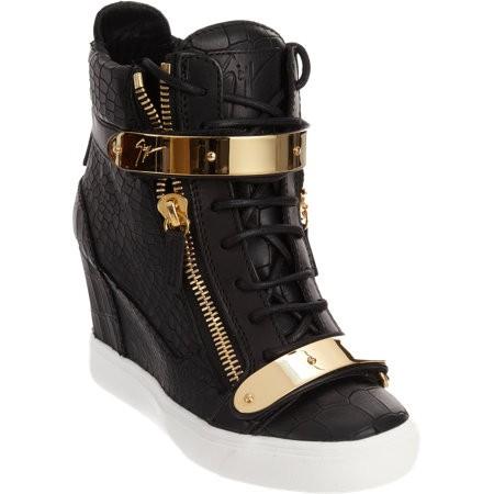 Embossed zip wedge sneaker