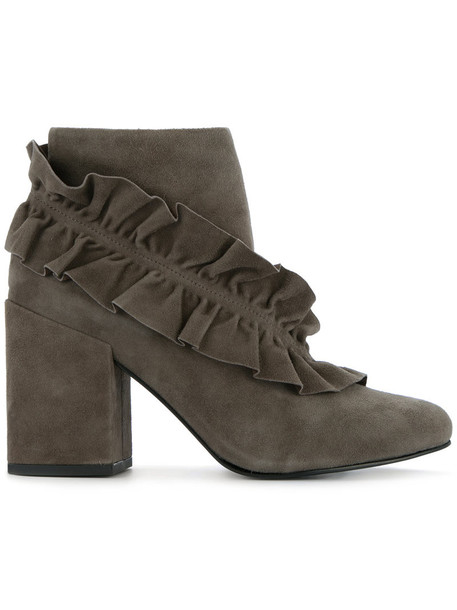 Senso women leather suede grey shoes