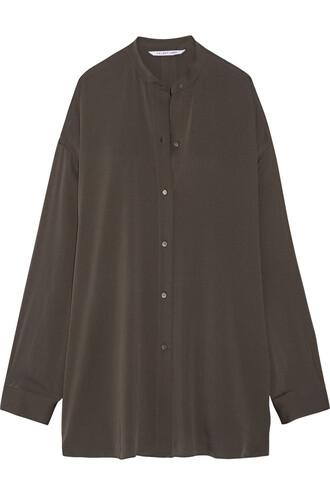 shirt back silk charcoal top