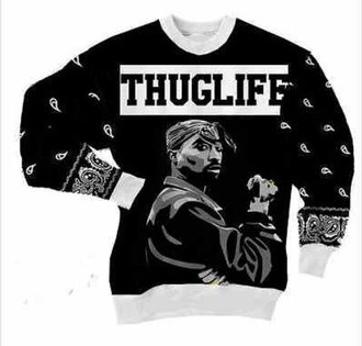 sweater tupac sweatshirt black and white