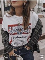 shirt,budweiser shirt