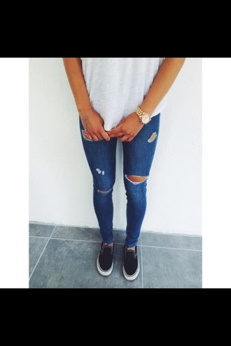 jeans blue jeans jewels shirt pants shoes ripped slip on shoes t-shirt clothes ripped jeans vans skinny pants holes blue skinny jeans denim style tumblr outfit cropped jeans summer jeans swatch trousers blue accessories girl skinny jeans destroyed skinny jeans blue outfit jeans tan blue pretty tumblr