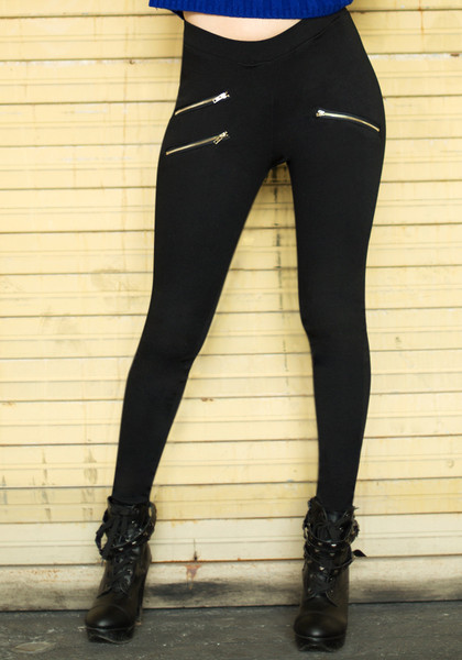 Gold Zipper Black Leggings - Zipper Black Leggings