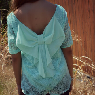 top mint top bow back bow back top mint bow trendy crochet fall outfits