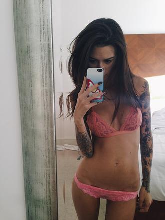 underwear pink underwear lacy lace bra cute see through tattoo