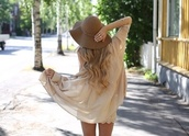 skirt,beige,fashion,blouse,cream,beige blouse,camel,chic,shirt,top,silk,hat,colorful hats,fashion hats,capeline,brown hat