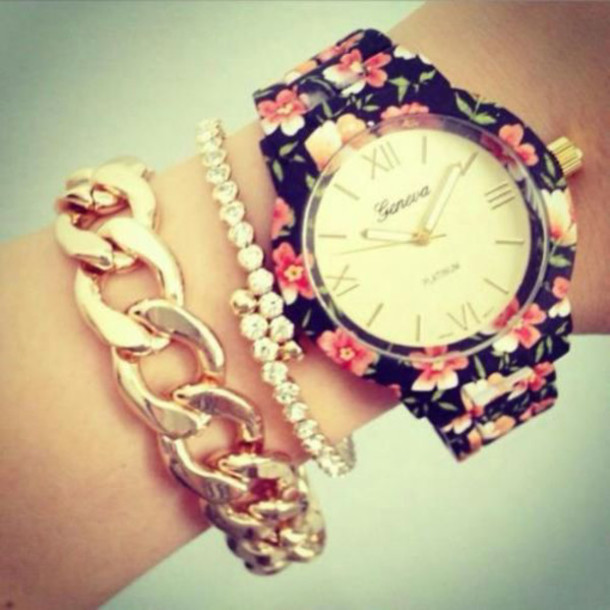 jewels watch bracelets floral watch watch bag