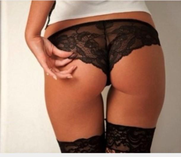 Underwear: panties, lingerie, black, lace, tanga, sexy - Wheretoget