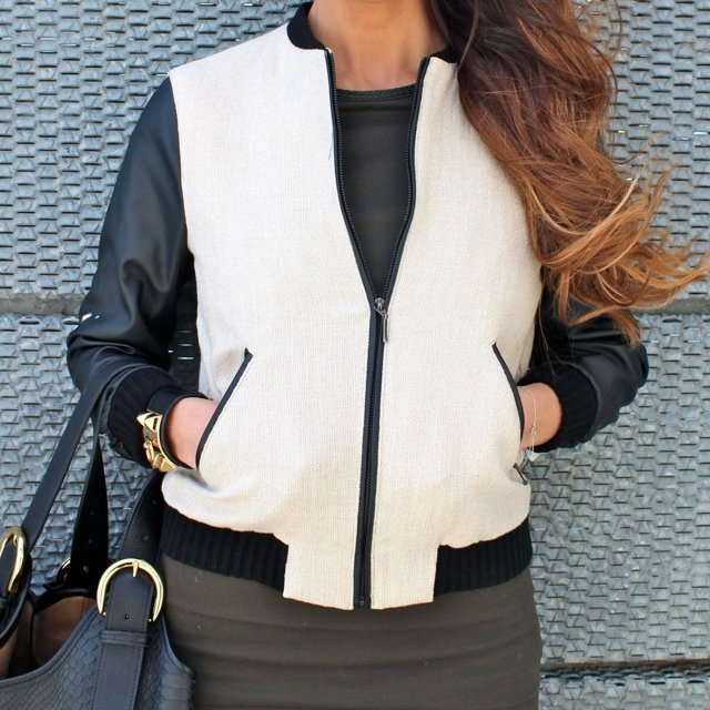 ✨ZARA bomber. Beige and black with two different materials. The ...