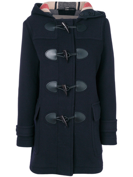 Burberry coat duffle coat women leather cotton blue wool