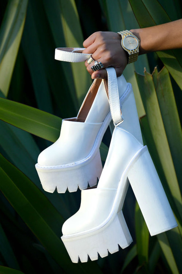 shoes white high heels white high heels heels white platform heels nastygal white heels chuncky heels
