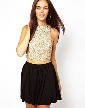 River Island | River Island Embellished High Neck Crop Top at ASOS