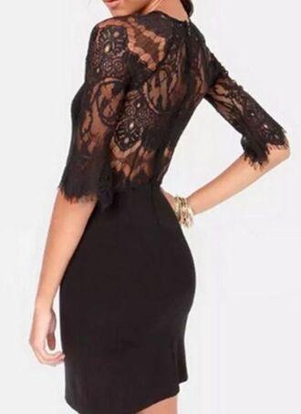 little black dress lace top dress half sleeves lace back dress sheer lace back dress www.ustrendy.com