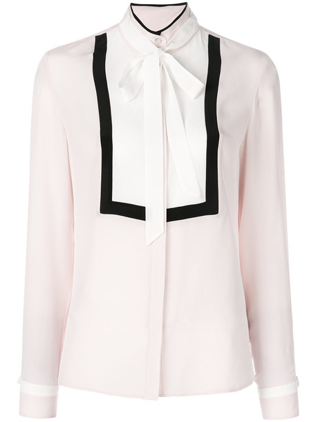 karl lagerfeld shirt bow women silk purple pink top