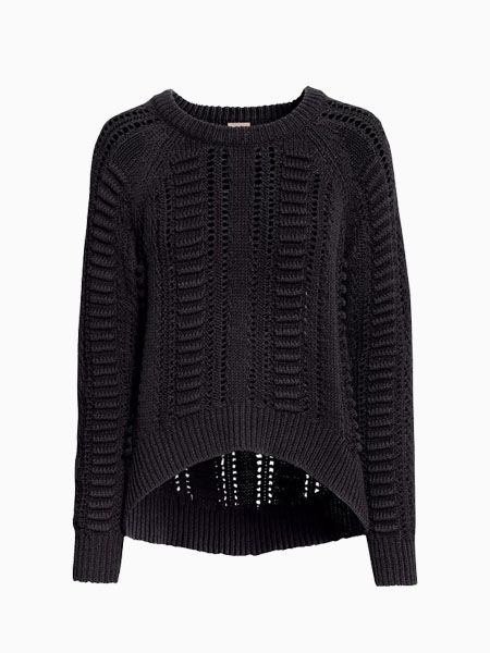 Black Oversize Sweater With Hollow Out | Choies