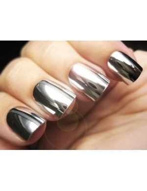 Mani metallic nail foils stick on silver