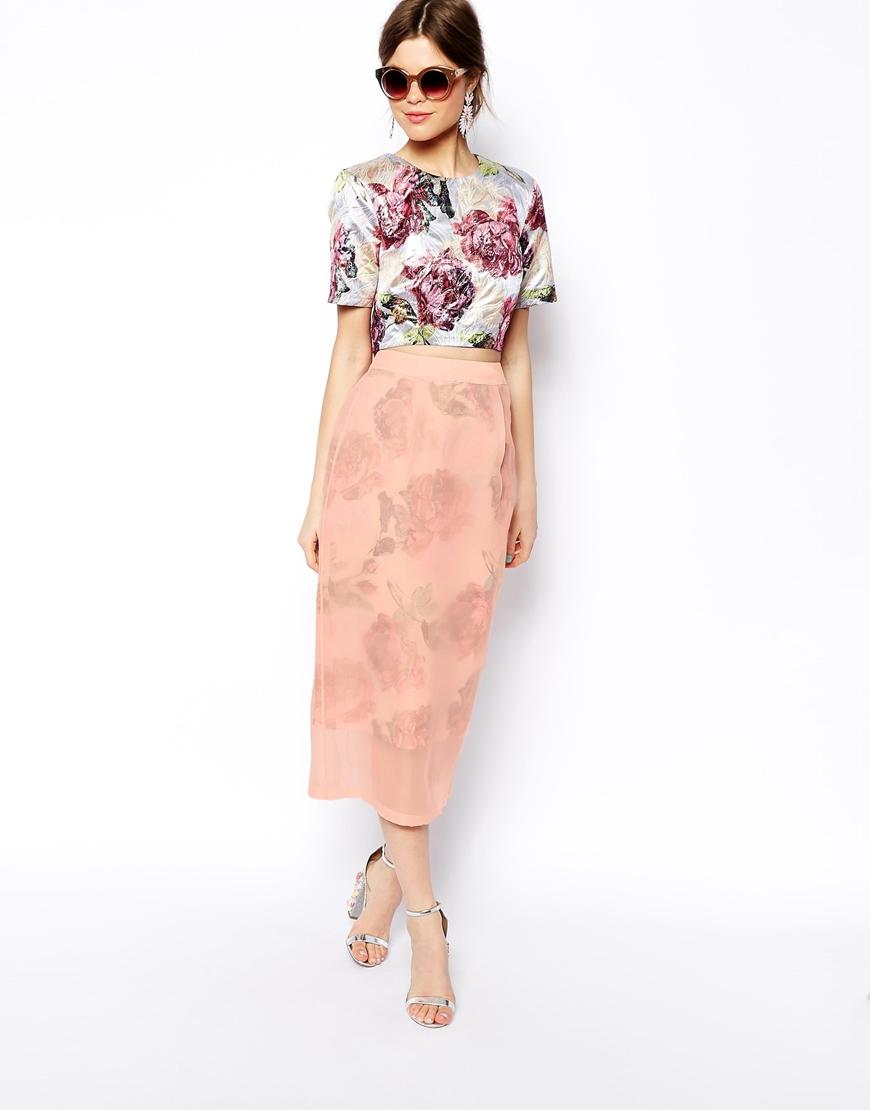 ASOS SALON Midi Skirt In Floral Organza at asos.com