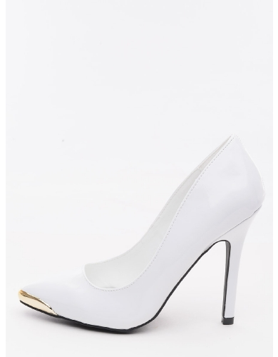 White Love Bits Metal Cap Pointed Toe Heels | $10.00 | Cheap Trendy Heels and Pumps Chic Discount Fa