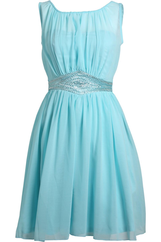 Turquiose jeweled panel dress
